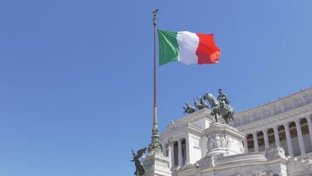 Waving Italian Flag In Rome: Stock Video