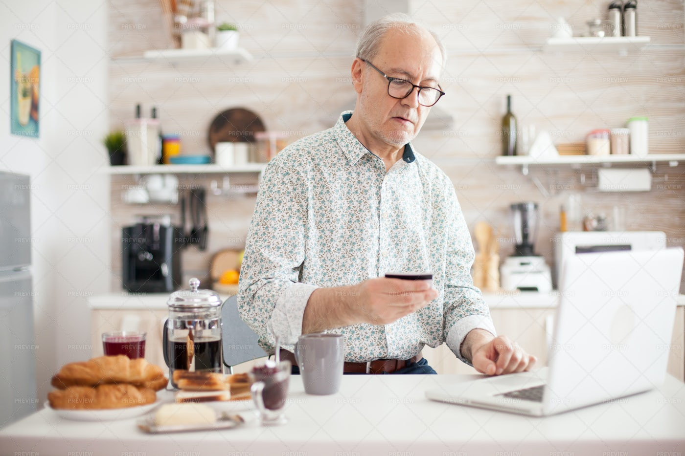 Man Doing Online Purchase: Stock Photos