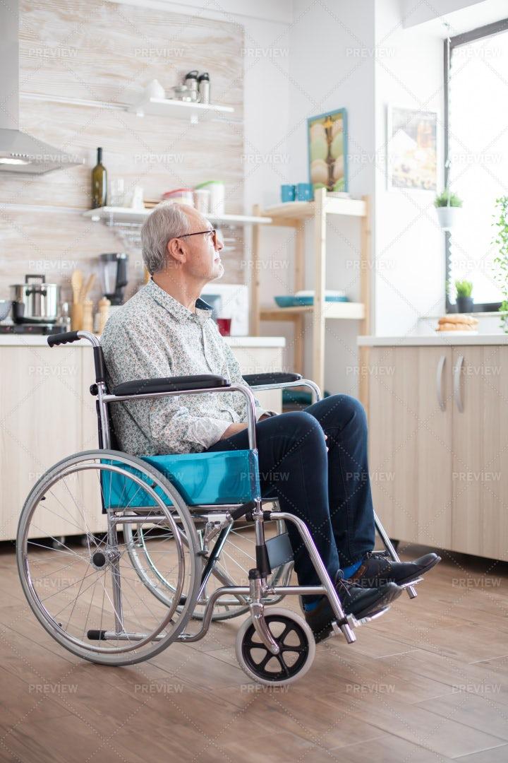 Unhappy Disabled Senior Man: Stock Photos