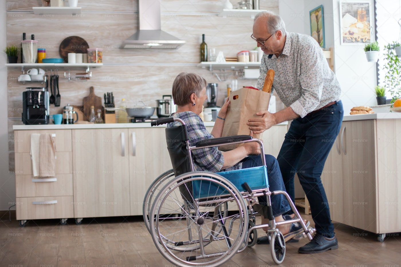 Invalid Woman And Husband: Stock Photos