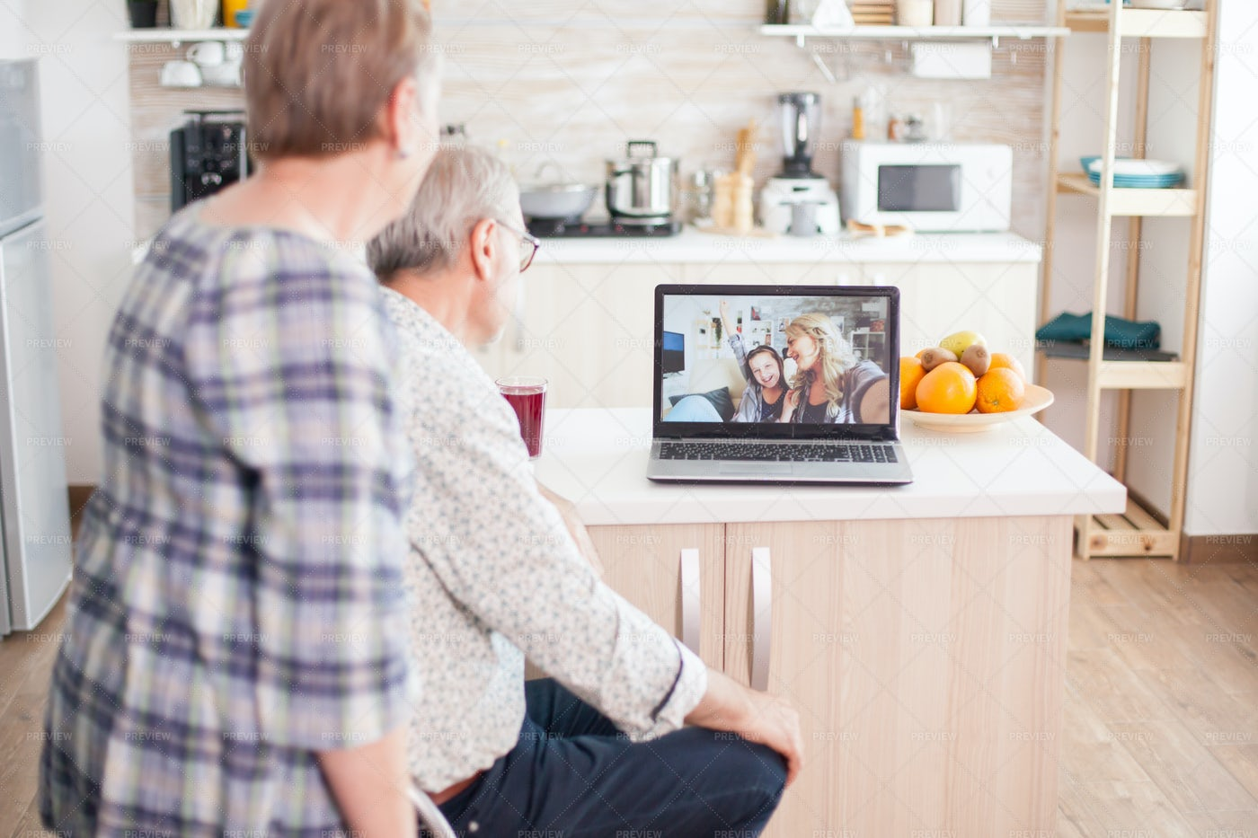 Video Conference With Granddaughter: Stock Photos