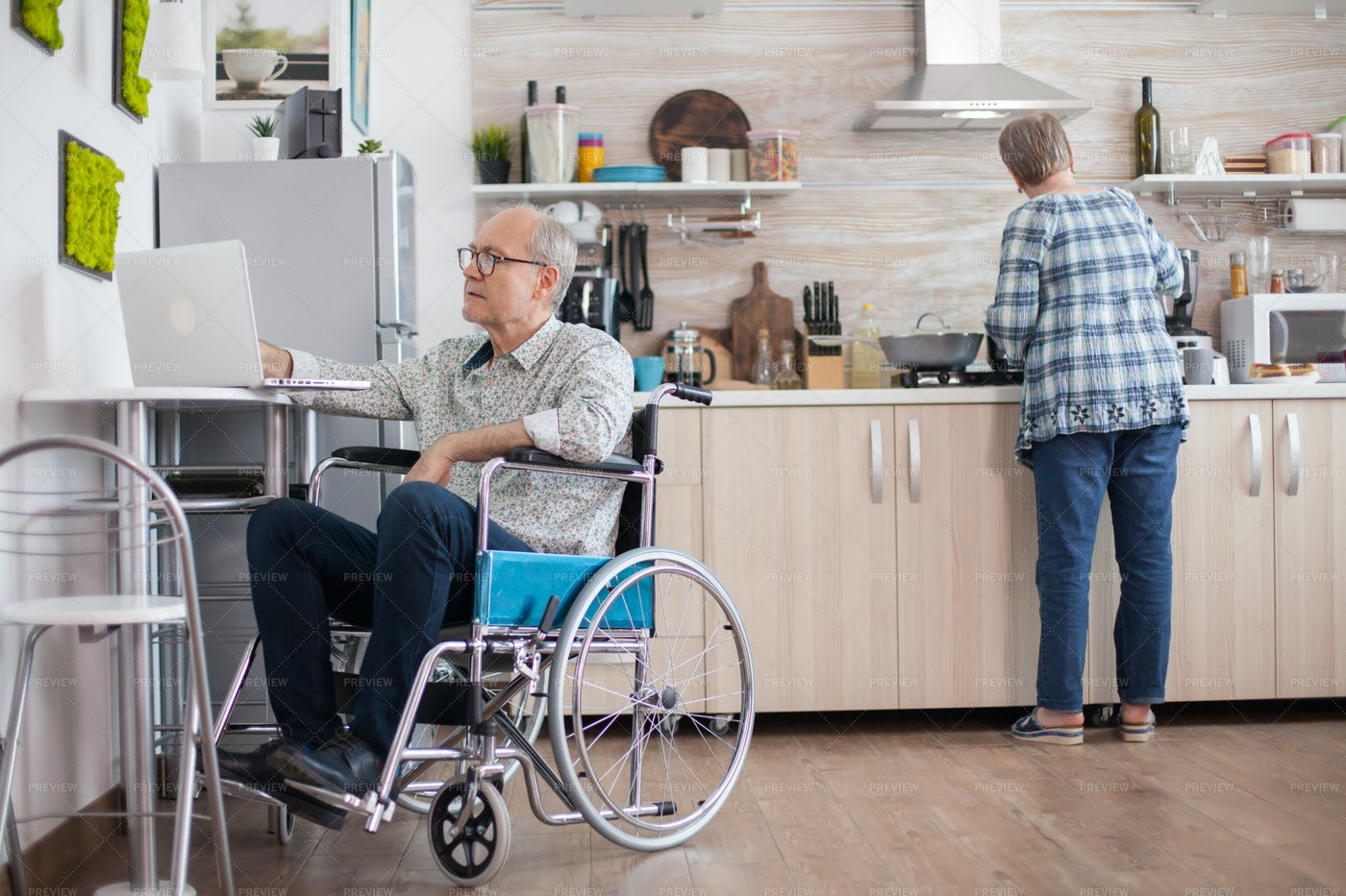 Businessman With Laptop In Wheelchair: Stock Photos