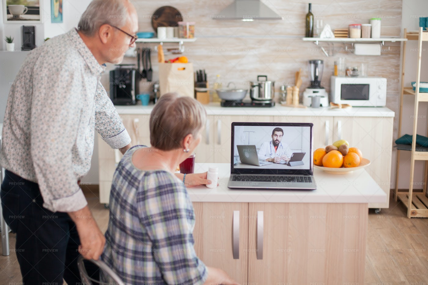 Seniors On Medical Call: Stock Photos