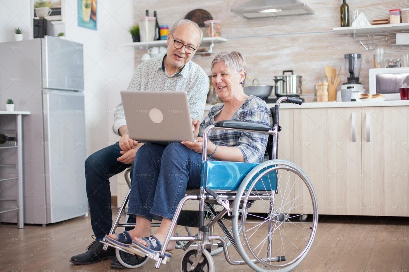 Elderly Couple Video Call: Stock Photos