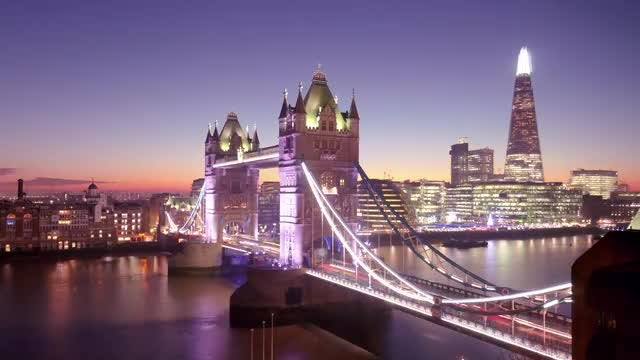 London Day To Night Time Lapse: Stock Video