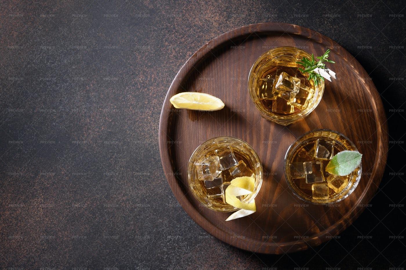 Three Glasses Of Whiskey: Stock Photos