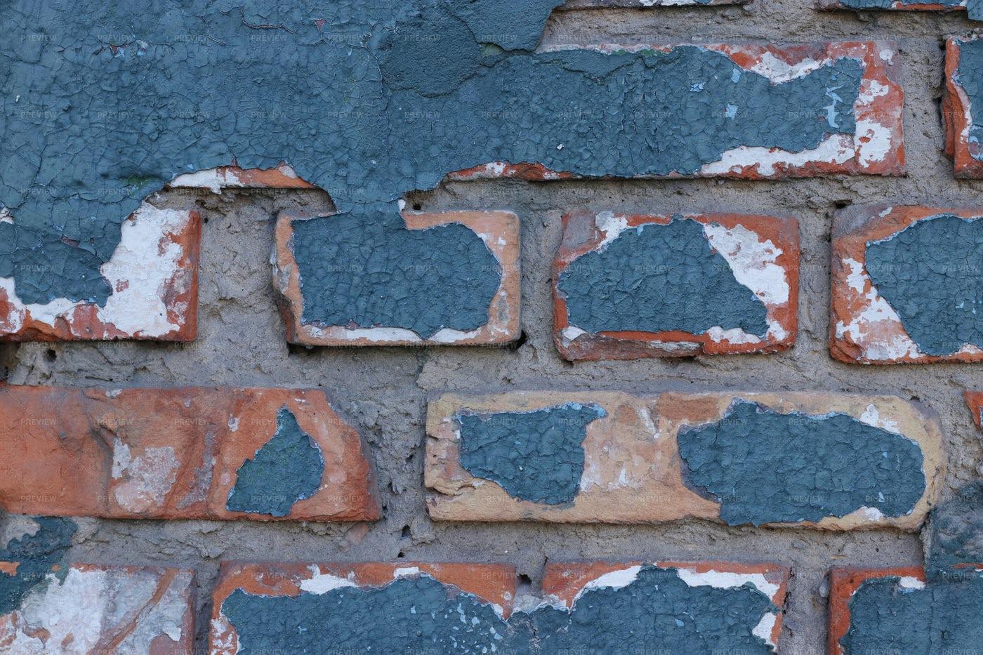 Old Blue Brick Wall: Stock Photos