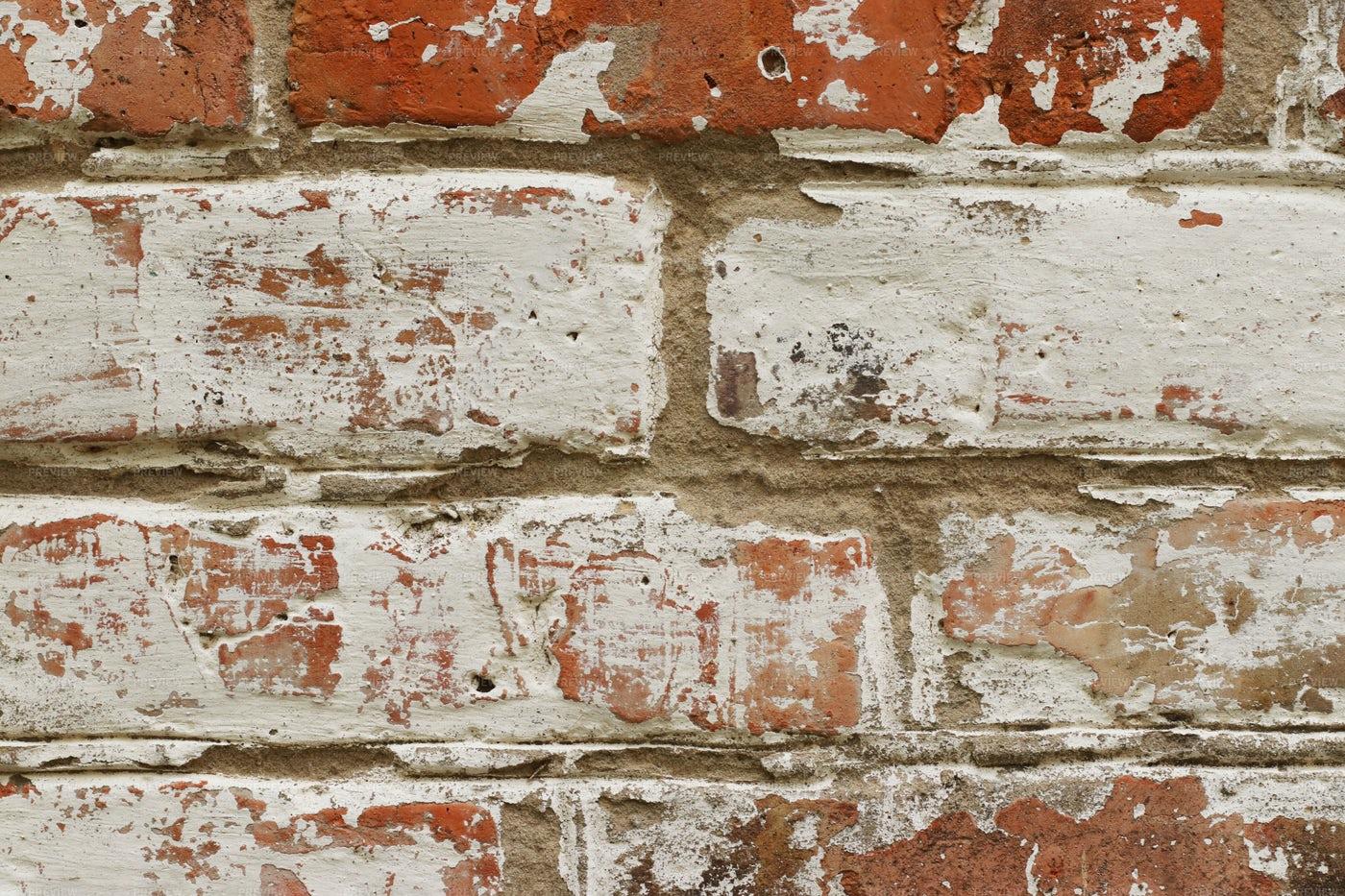 Old Painted Brick Wall: Stock Photos