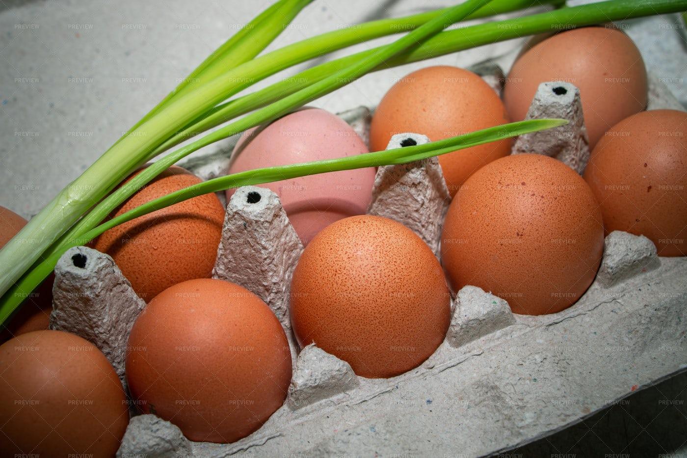 Carton Of Brown Eggs: Stock Photos