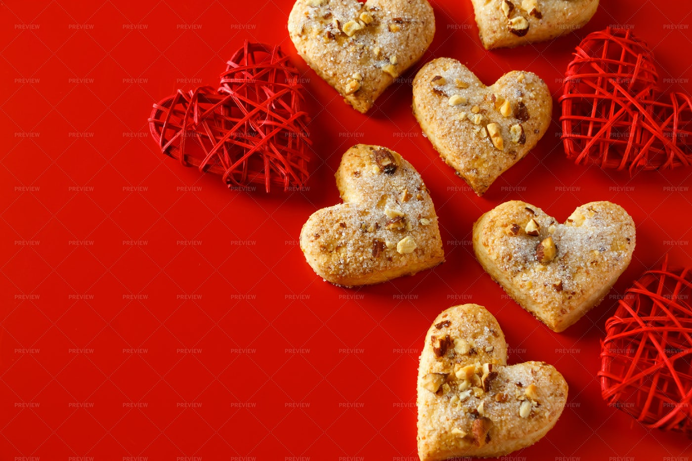 Heart-Shaped Cookies On Red: Stock Photos