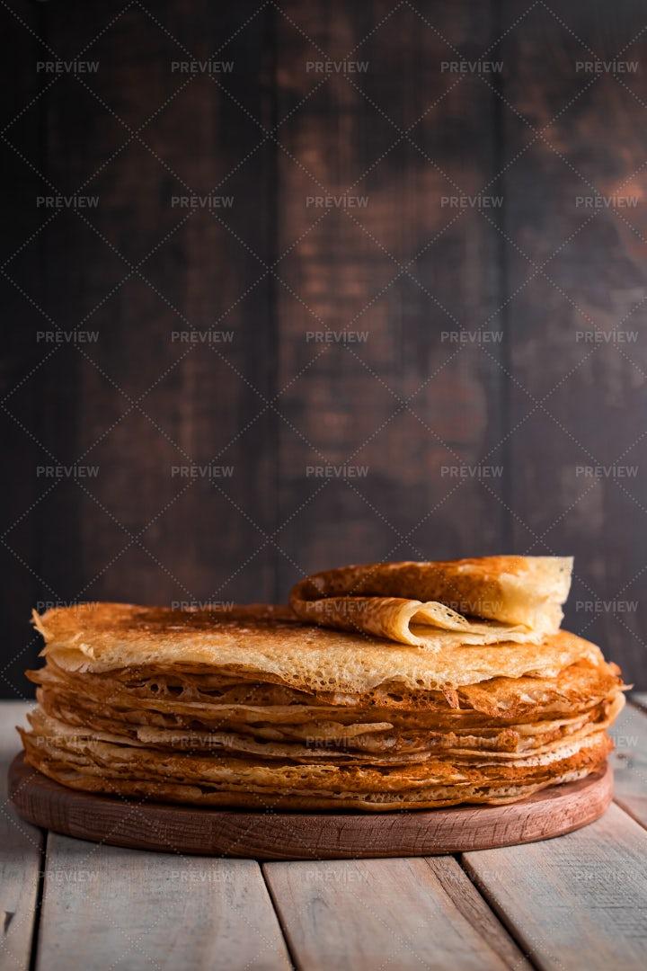 Thin Pancake Stack: Stock Photos