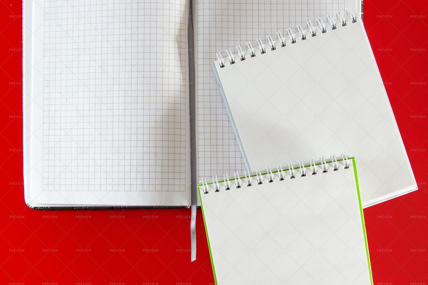 Office Supplies On Red: Stock Photos