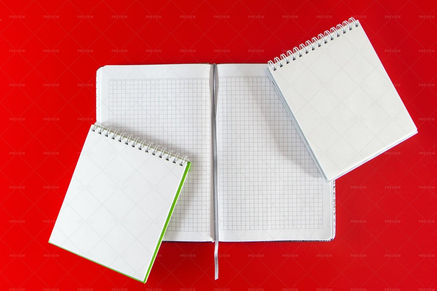 Minimalistic Layout Of Notebooks: Stock Photos
