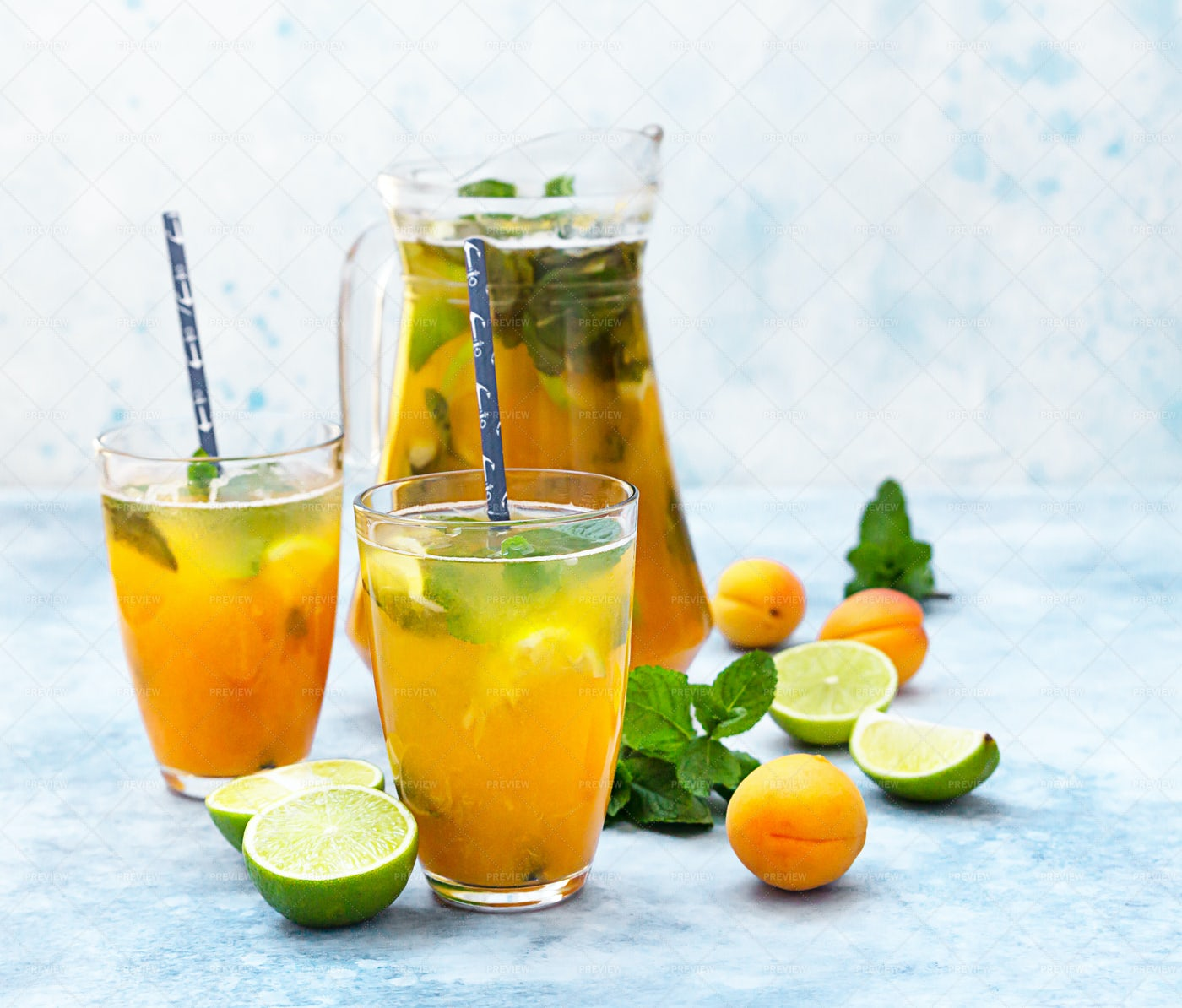 Iced Lemonade With Apricot And Mint: Stock Photos
