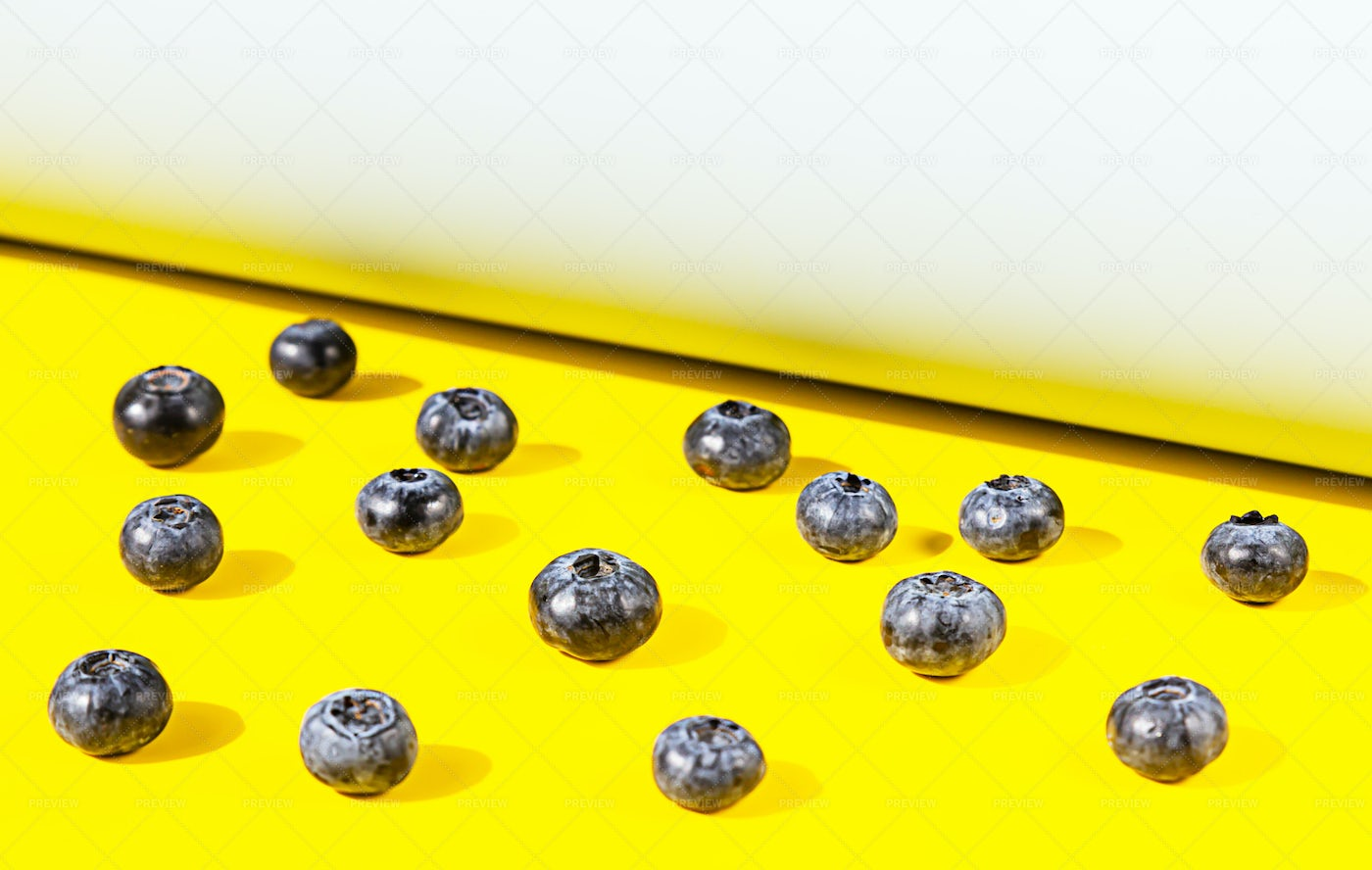 Blueberry Pattern On Yellow: Stock Photos