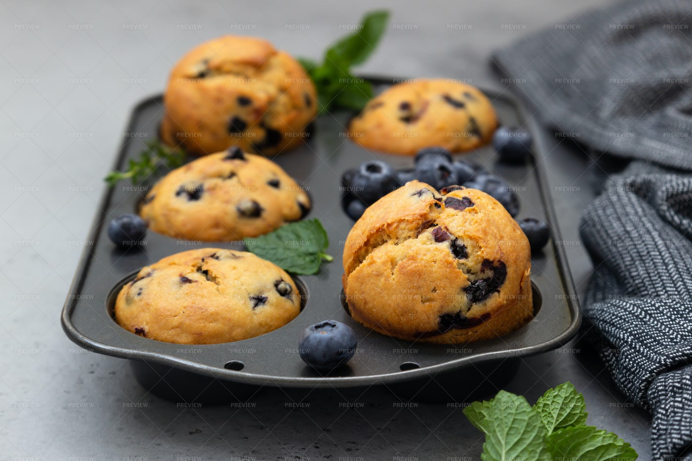 Blueberry Muffins In A Muffin Tin: Stock Photos