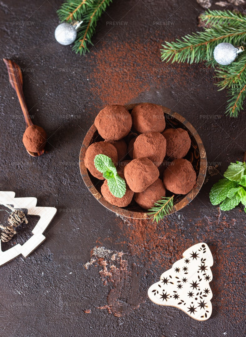 Chocolate Holiday Truffles With Mint: Stock Photos