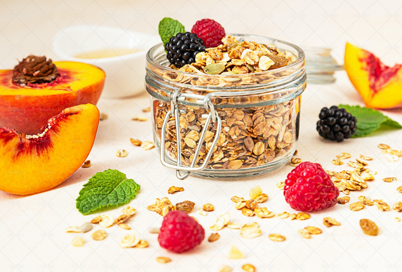 Homemade Granola In A Glass Jar: Stock Photos