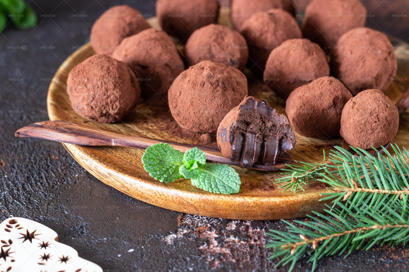 Christmas Truffles With Mint: Stock Photos