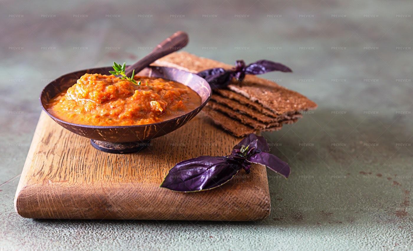 Crackers And Eggplant Caviar Background: Stock Photos