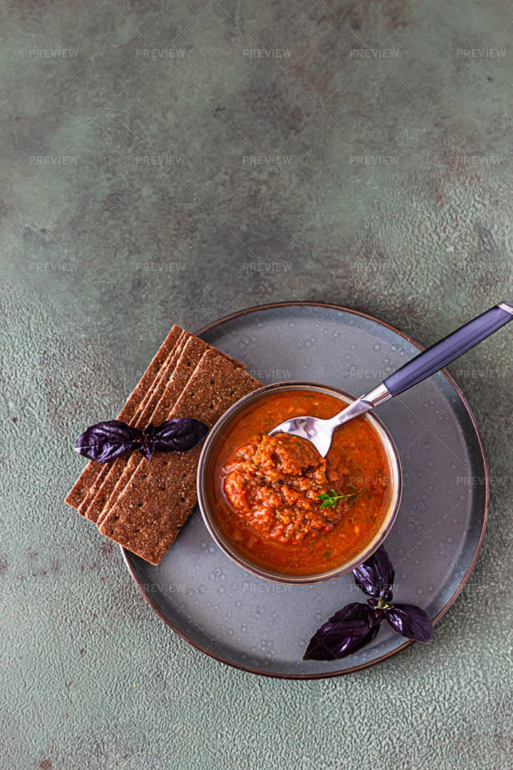 Homemade Vegetable Sauce And Crackers: Stock Photos