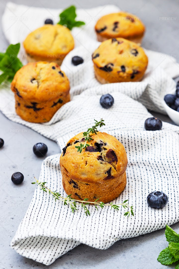 Delicious Blueberry Muffins: Stock Photos