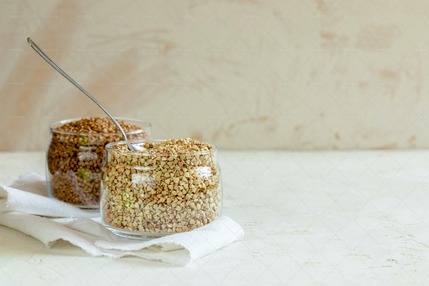 Buckwheat Grains With Copy Space: Stock Photos