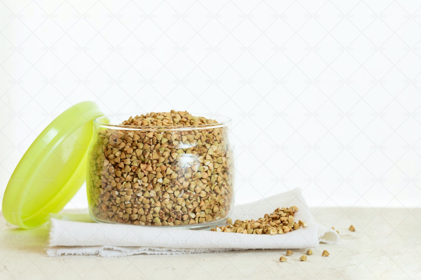 Green Buckwheat In Glass Bowl: Stock Photos