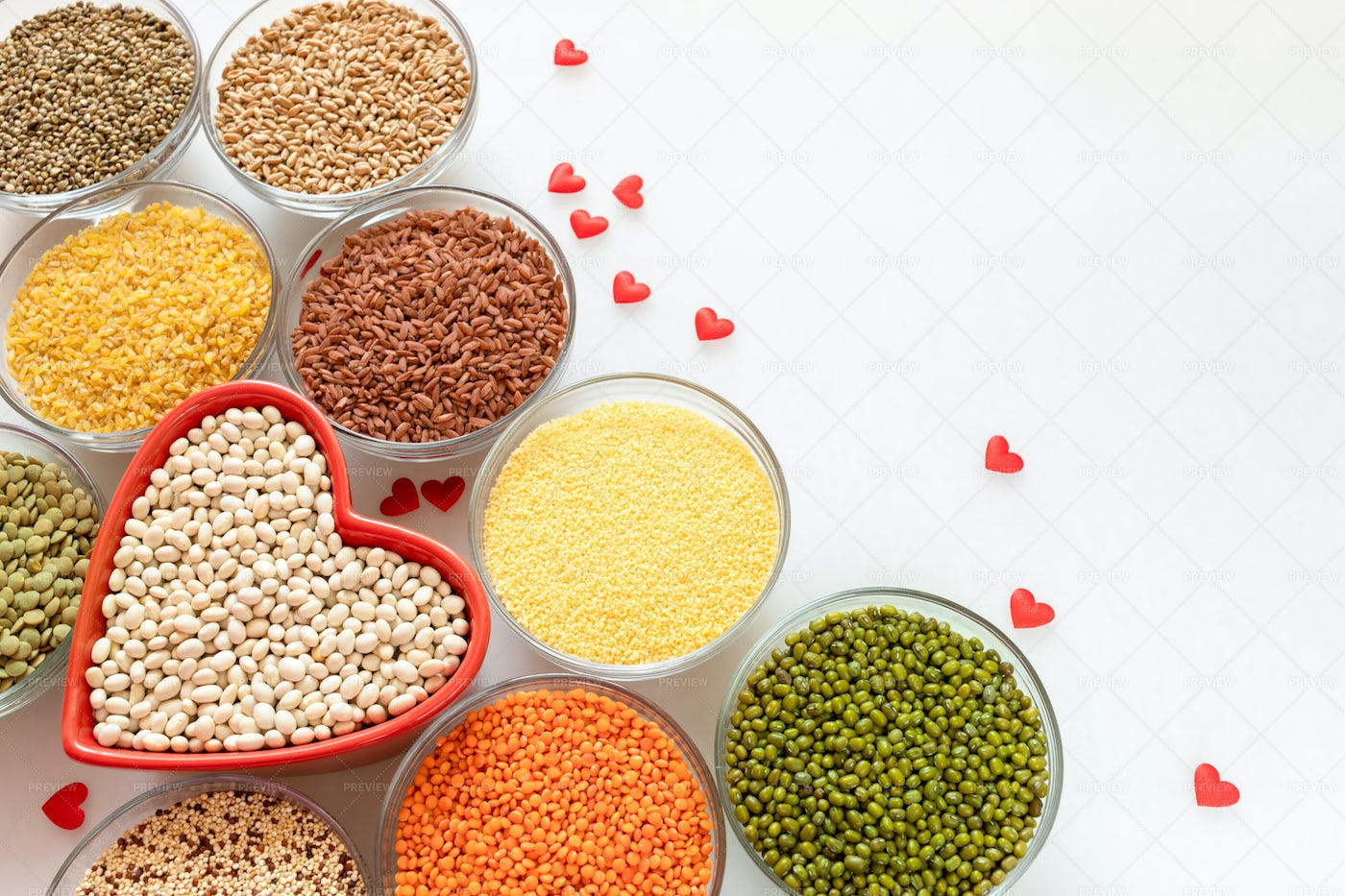 Bowls Of Grains Background: Stock Photos