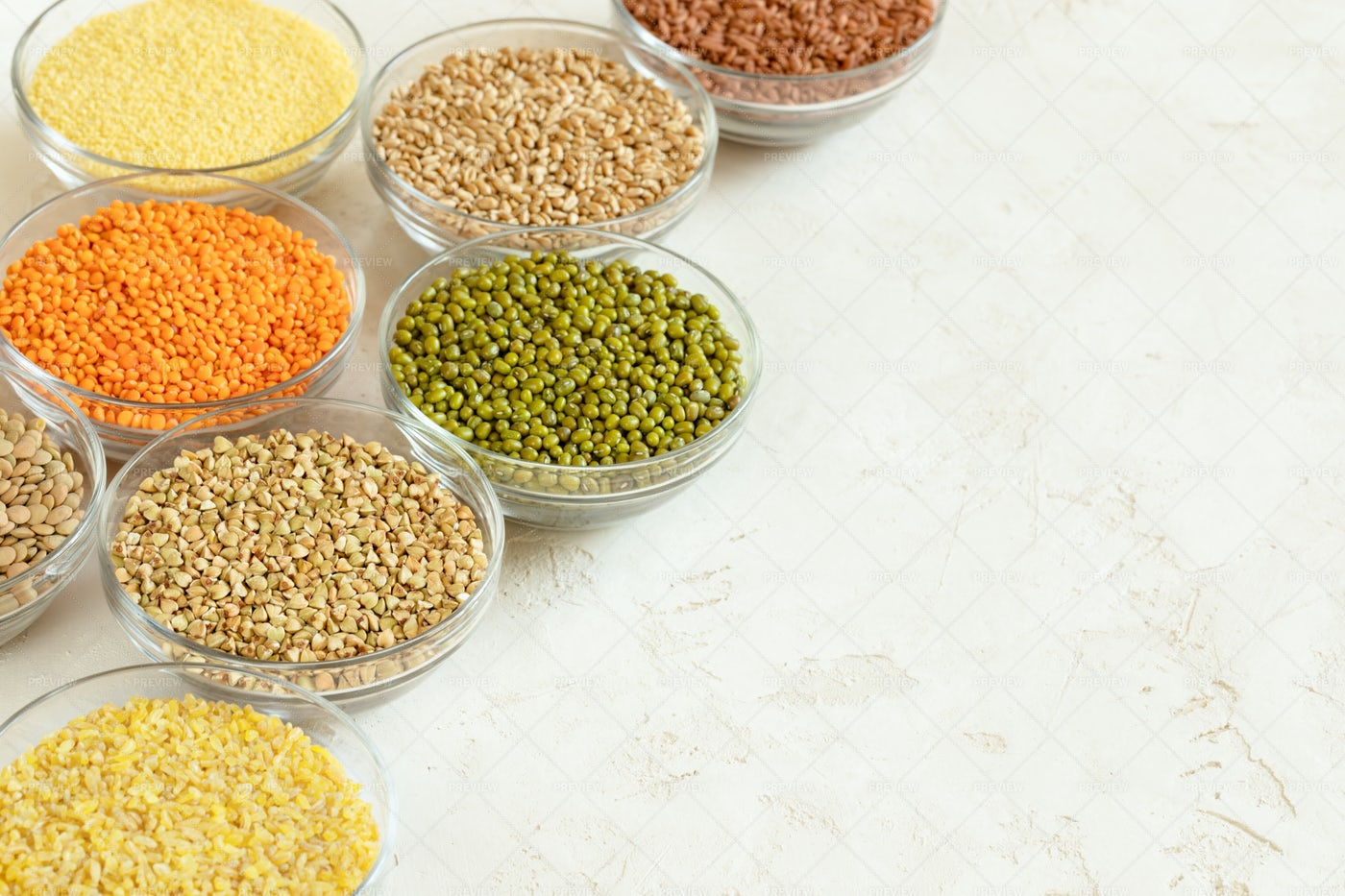 Superfood Grains In Bowls Background: Stock Photos