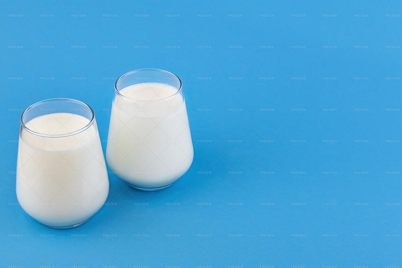 Probiotic Kefir And Yogurt Background: Stock Photos
