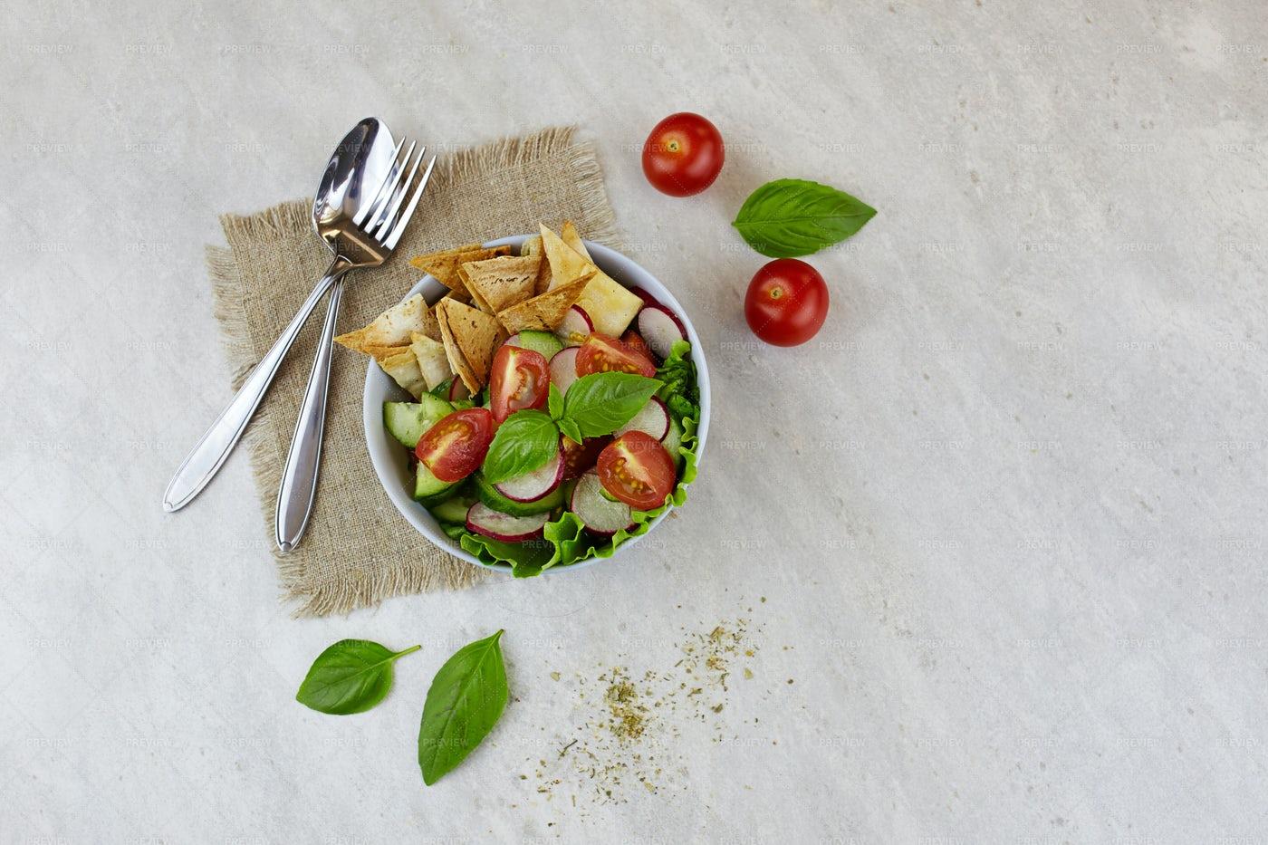 Fattoush Salad Background: Stock Photos