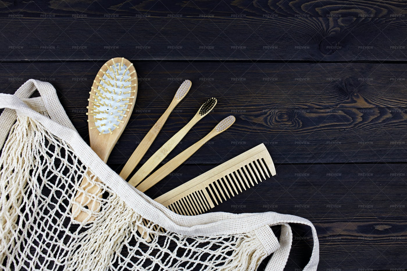 Eco Wood Comb And Bamboo Toothbrushes: Stock Photos