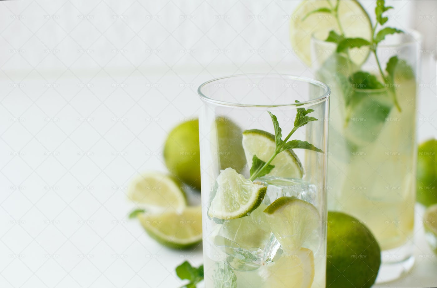 Lime And Mint Drink Background: Stock Photos