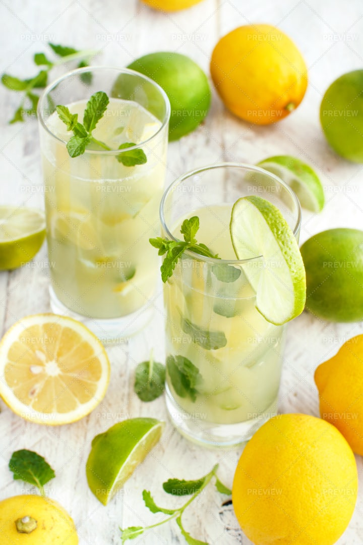 Lemon, Lime And Mint Drink: Stock Photos