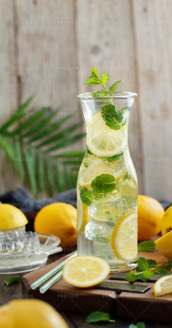 Mint Lemonade In Carafe: Stock Photos