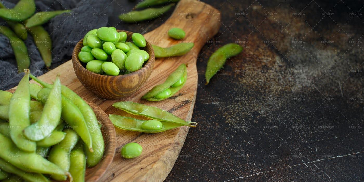Green Edamame Beans Background: Stock Photos