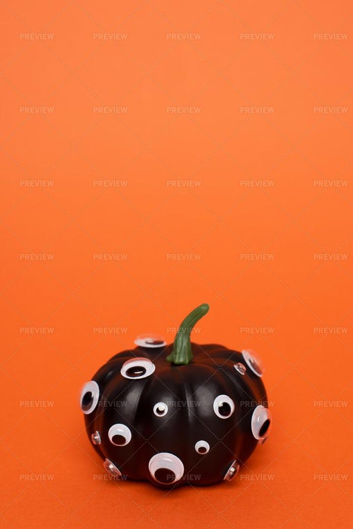 Black Pumpkin With Eyes: Stock Photos