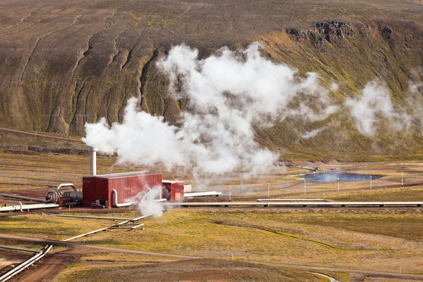 Geothermal Power Station In Iceland: Stock Photos