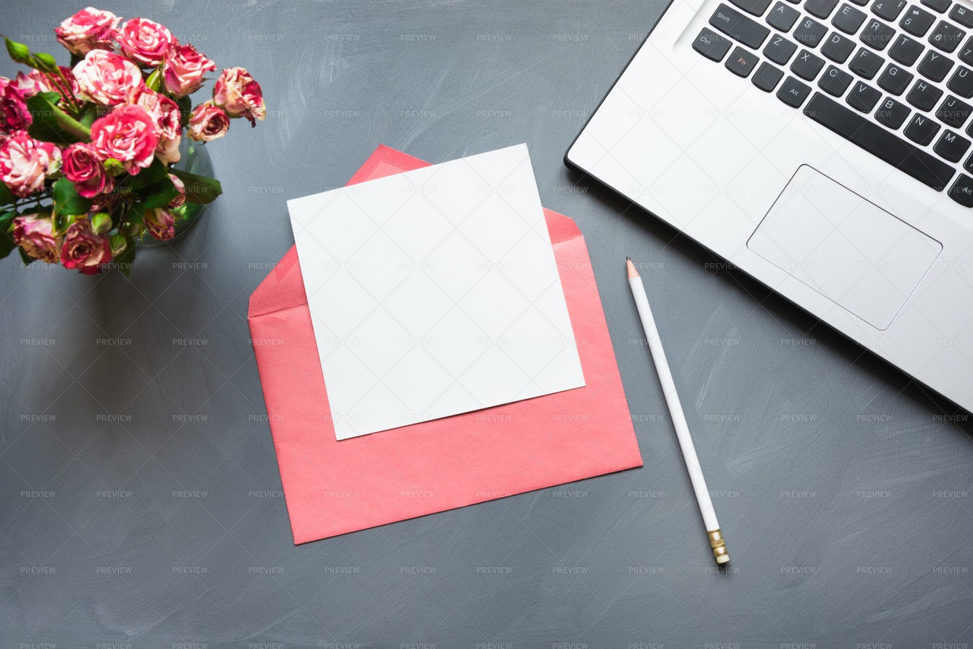 Roses, Envelope And Laptop: Stock Photos