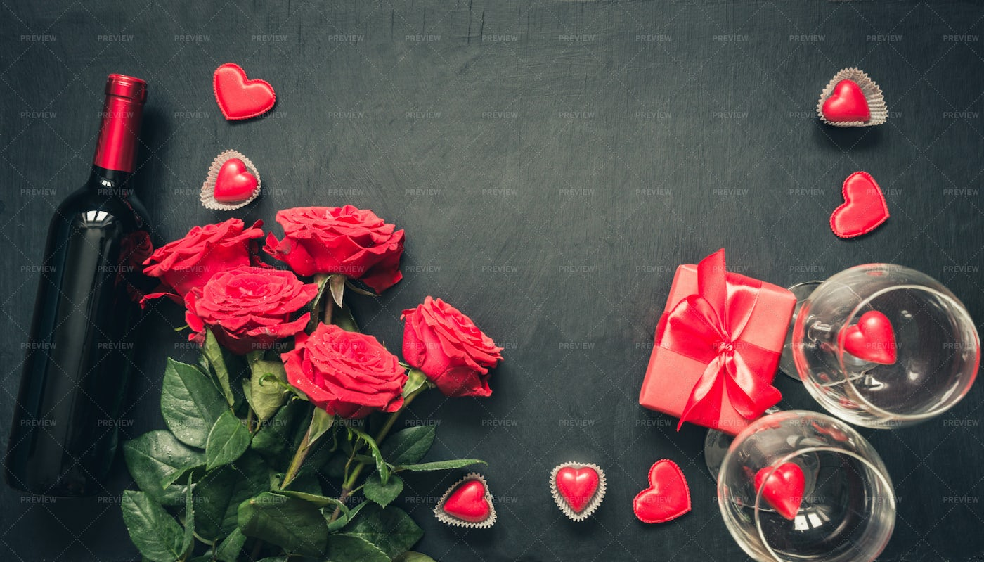 Red Roses And Wine: Stock Photos