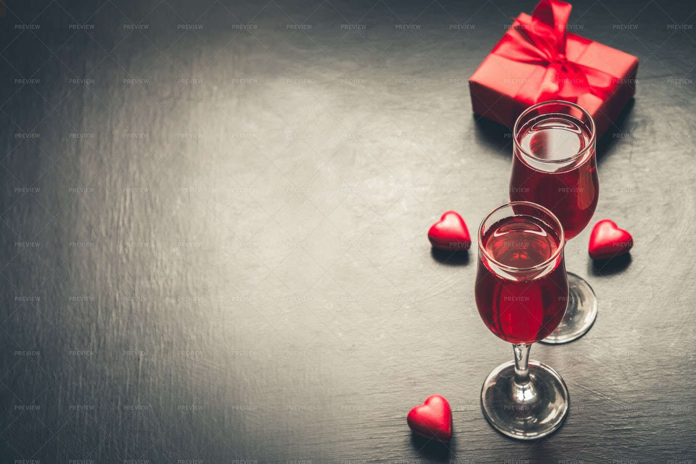 Champagne And Gift: Stock Photos