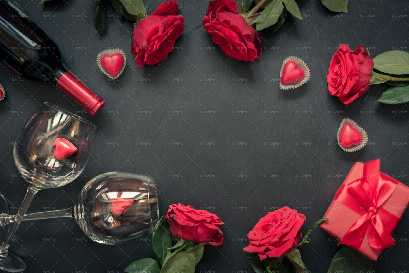 Red Wine, Gift And Roses: Stock Photos