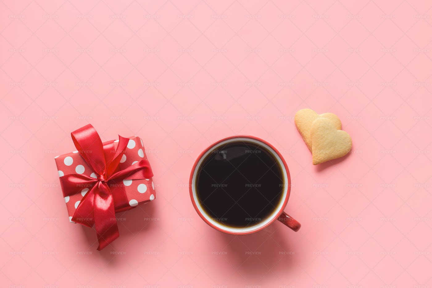 Coffee, Gift And Cookies: Stock Photos