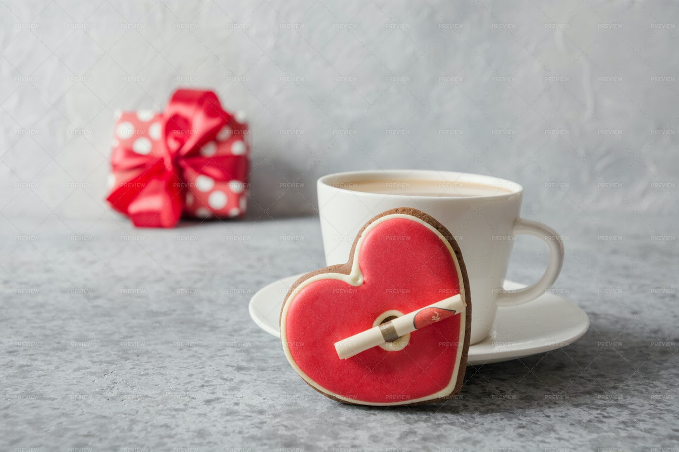 Valentine's Day Cookie, Coffee And Gift: Stock Photos