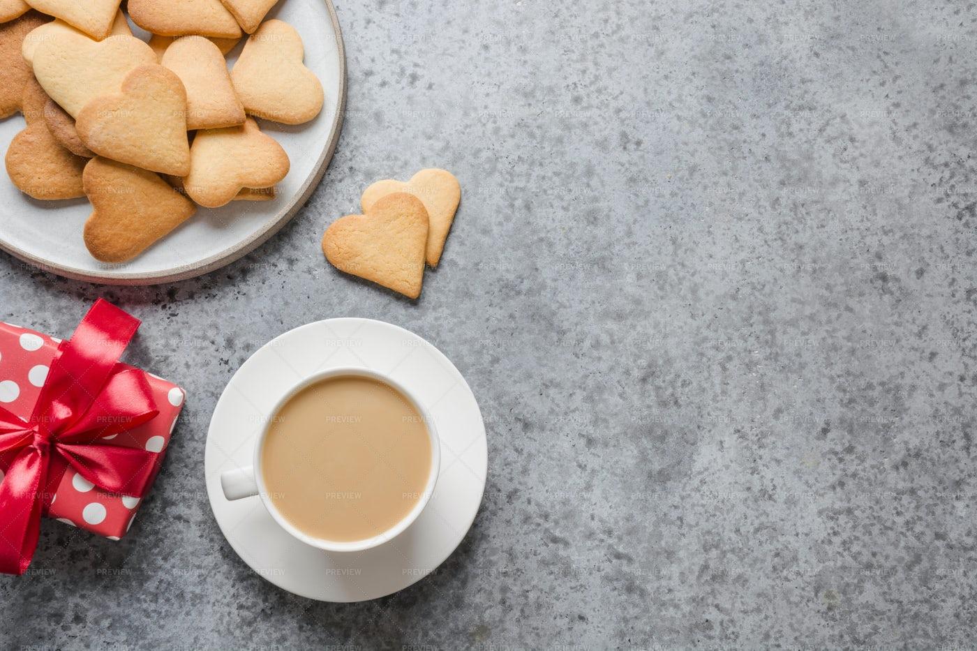 Homemade Heart Cookies And Coffee: Stock Photos