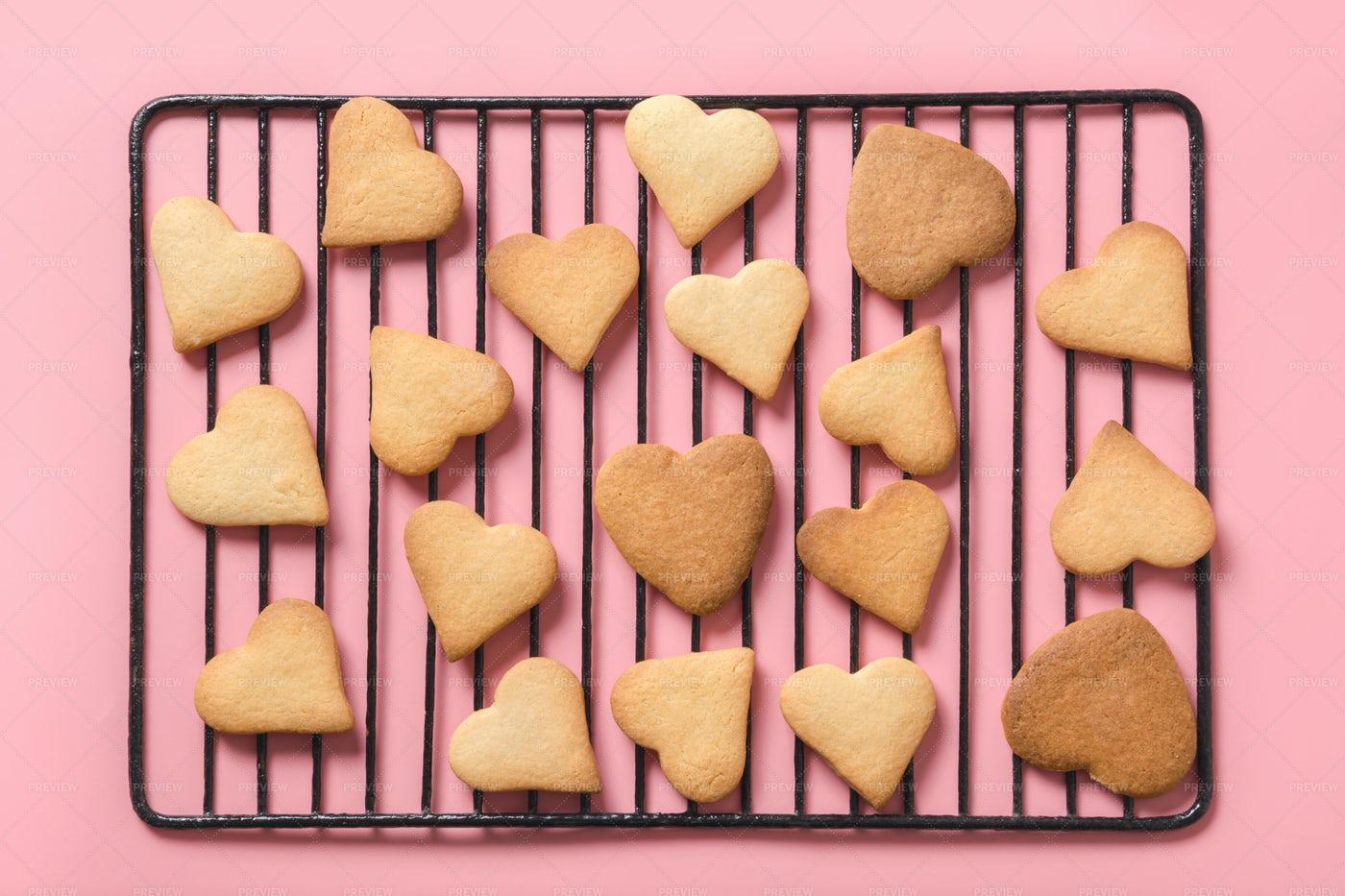 Homemade Heart-Shaped Cookies: Stock Photos