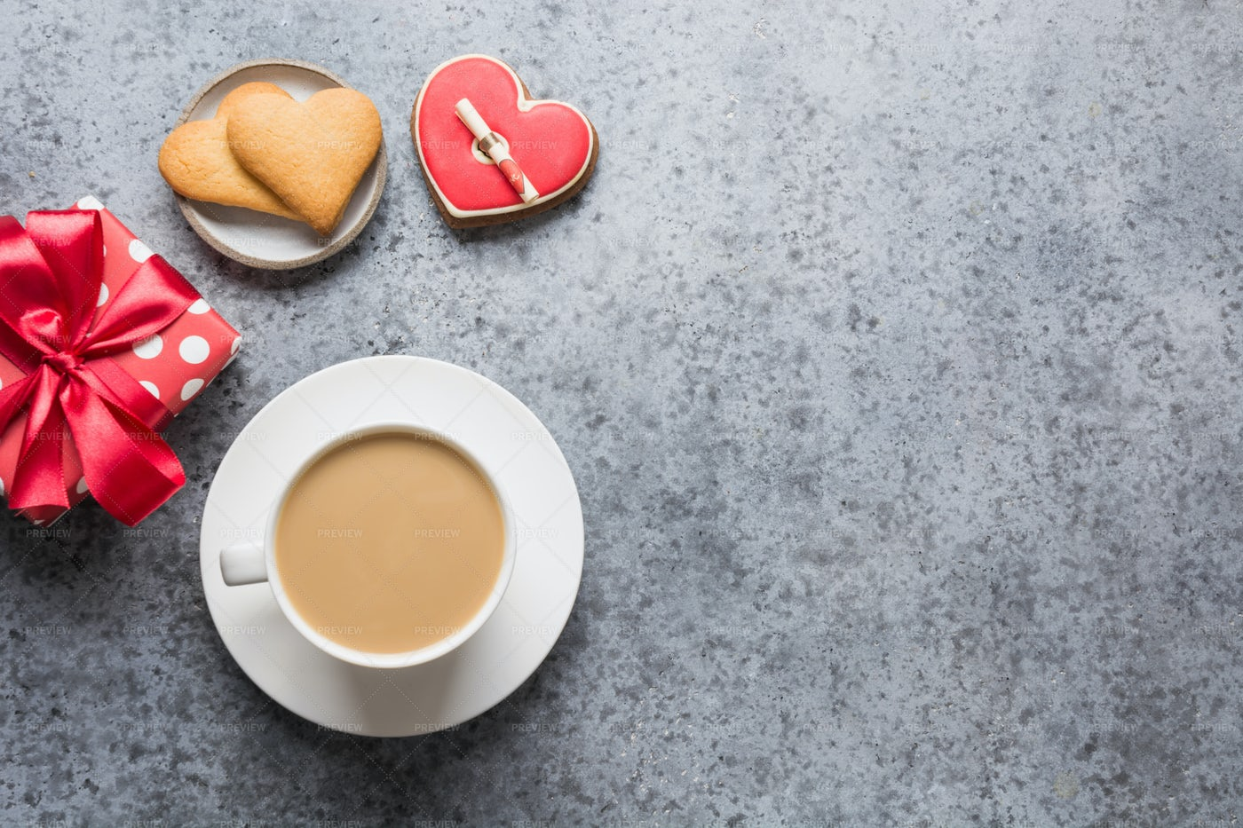 Coffee And Heart Cookies: Stock Photos