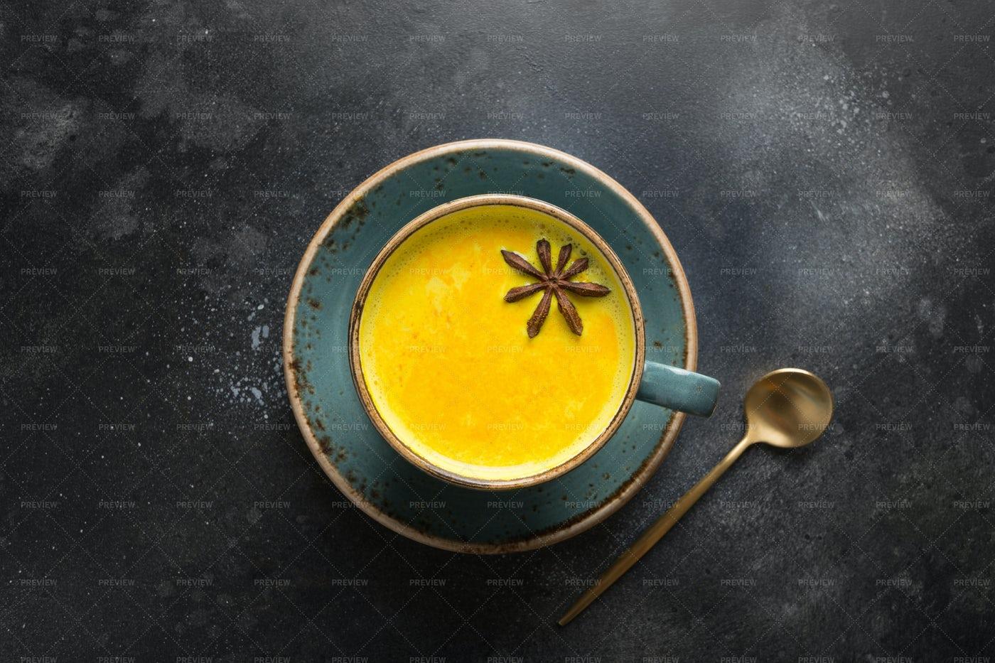 Ayurvedic Golden Turmeric Milk: Stock Photos