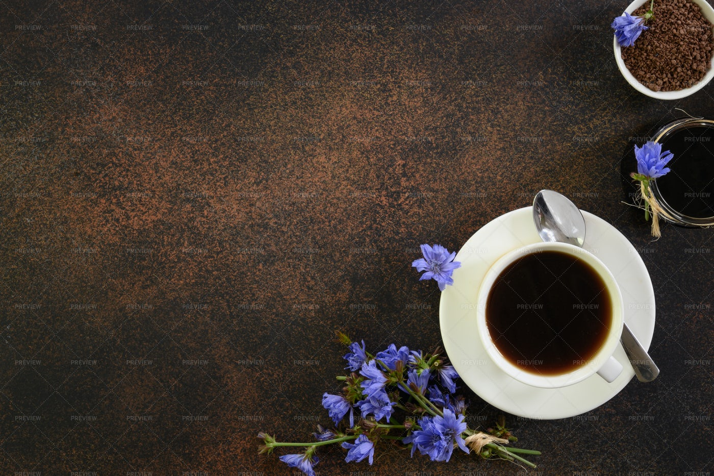 Chicory Drink And Flowers: Stock Photos